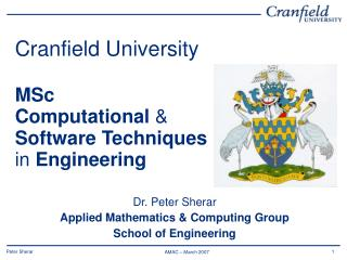 Cranfield University MSc  Computational  & Software Techniques  in  Engineering