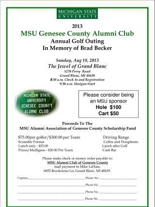 2013 MSU Genesee County Alumni Club Annual Golf Outing In Memory of Brad Becker