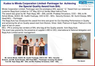Kudos to Minda Corporation Limited- Pantnagar for  Achieving the Special Quality Award from BAL