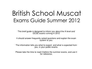 British School Muscat Exams Guide Summer 2012