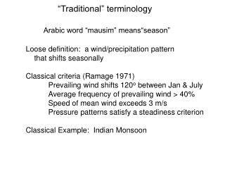 """""""Traditional"""" terminology"""