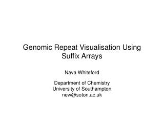 Genomic Repeat Visualisation Using Suffix Arrays