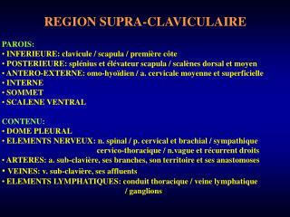 REGION SUPRA-CLAVICULAIRE