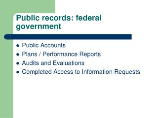 Public records: federal government