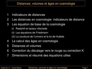 Distances, volumes et  âges en cosmologie