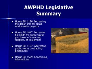 AWPHD Legislative Summary
