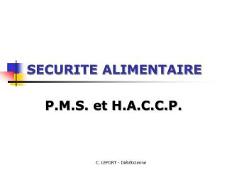 SECURITE ALIMENTAIRE