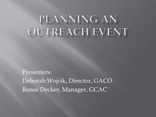 Planning an Outreach Event