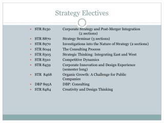 Strategy Electives