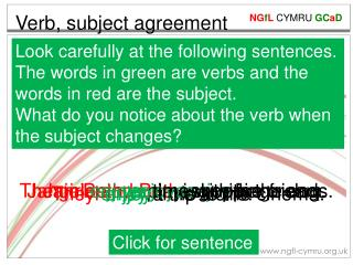 Verb, subject agreement