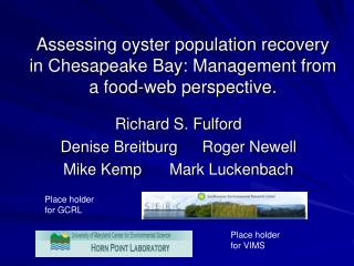 Assessing oyster population recovery in Chesapeake Bay: Management from a food-web perspective.