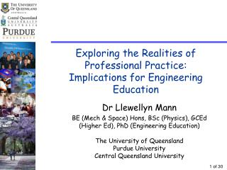Exploring the Realities of Professional Practice:  Implications for Engineering Education