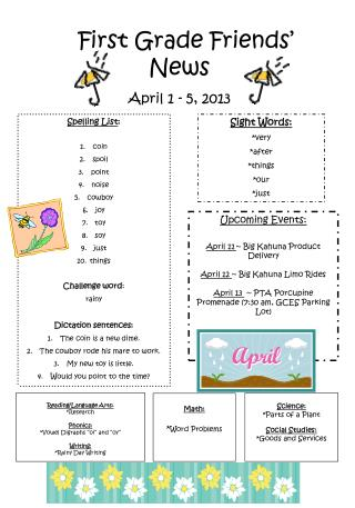 First Grade Friends' News April 1 - 5, 2013