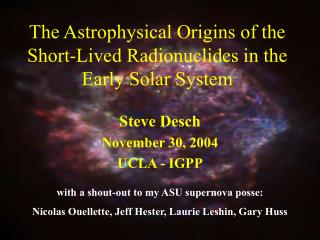 The Astrophysical Origins of the Short-Lived Radionuclides in the Early Solar System