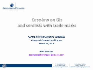 Case-law on GIs  and conflicts with trade marks