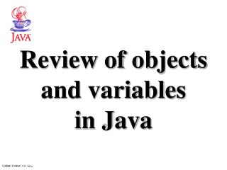 Review of objects and variables  in Java