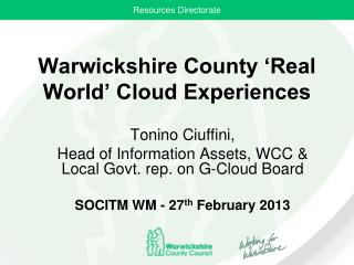 Warwickshire County 'Real World' Cloud Experiences