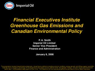 Financial Executives Institute Greenhouse Gas Emissions and Canadian Environmental Policy