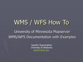 WMS / WFS How To