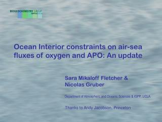 Ocean Interior constraints on air-sea fluxes of oxygen and APO: An update