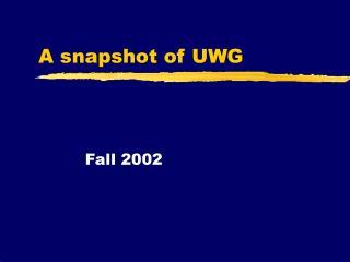 A snapshot of UWG