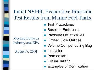 Initial NVFEL Evaporative Emission Test Results from Marine Fuel Tanks