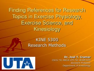Finding References for Research Topics in Exercise Physiology, Exercise Science, and Kinesiology