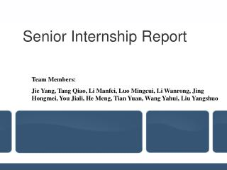 Senior Internship Report