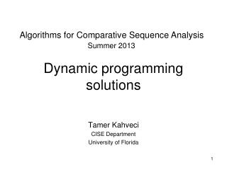 Dynamic programming solutions