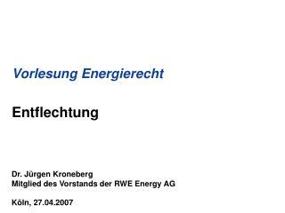 Vorlesung Energierecht