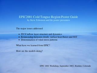 EPIC 2001 Workshop, September 2003, Boulder, Colorado