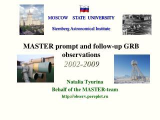 Natalia Tyurina  Behalf of the MASTER-team observ.pereplet.ru