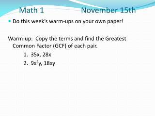 Math 1 November 15th