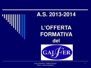 A.S. 2013-2014 L'OFFERTA FORMATIVA  del