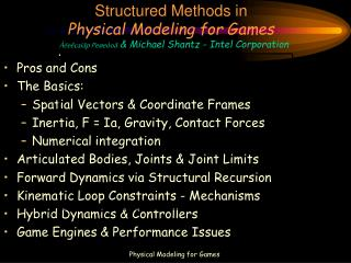 Structured Methods in  Physical Modeling for Games