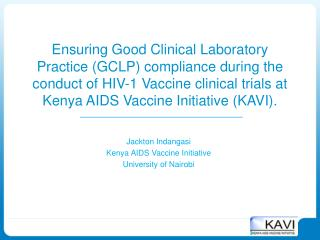 Jackton Indangasi Kenya AIDS Vaccine Initiative University of Nairobi