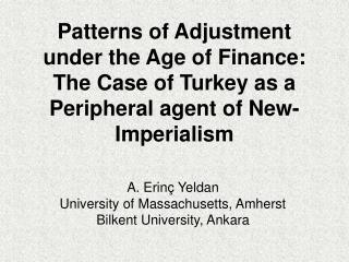 A. Erinç Yeldan University of Massachusetts, Amherst Bilkent University , Ankara