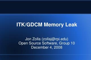 ITK/GDCM Memory Leak