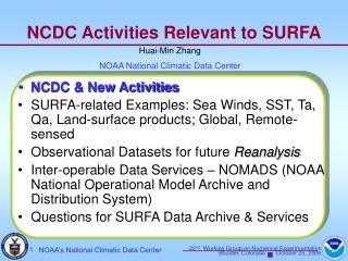 NCDC Activities Relevant to SURFA