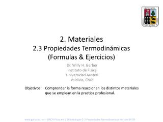 2 . Materiales 2.3 Propiedades Termodinámicas (Formulas & Ejercicios)