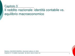 Capitolo 3 Il reddito nazionale: identità contabile vs. equilibrio macroeconomico