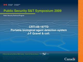 CRTI-06-187TD Portable biological agent detection system  J-F Gravel & coll.