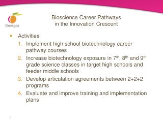 Bioscience Career Pathways  in the Innovation Crescent