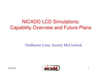 NICADD LCD Simulations: Capability Overview and Future Plans
