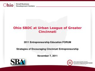 Ohio SBDC at Urban League of Greater Cincinnati