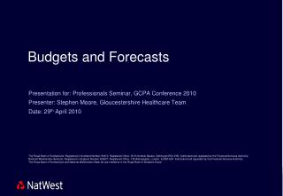 Budgets and Forecasts