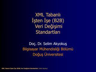 XML Tabanlı  İşten İşe (B2B)  Veri Değişimi  Standartları