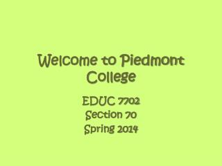 Welcome to Piedmont College