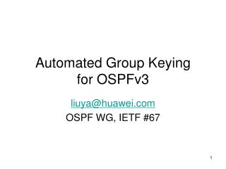 Automated Group Keying  for OSPFv3