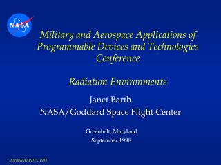 Janet Barth NASA/Goddard Space Flight Center
